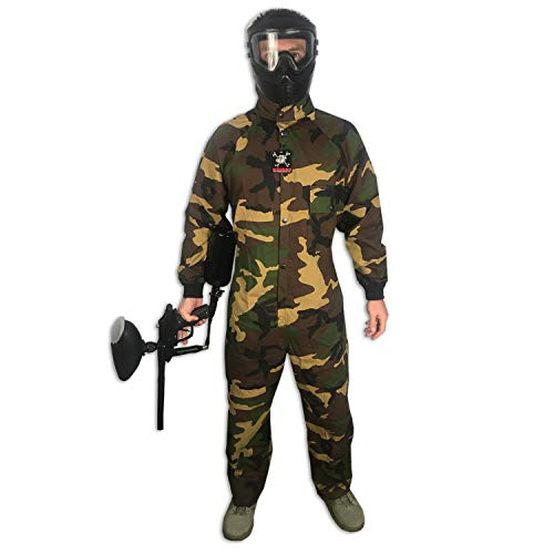 (Maddog Tactical Paintball Rip Stop Coverall Jumpsuit - Woodland Camo - Small)