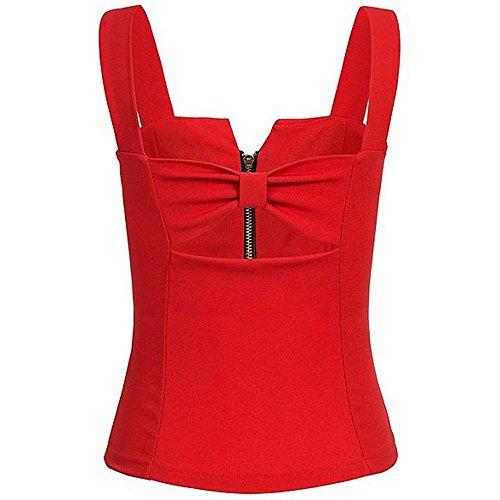 manches sans Sexy Women Débardeur Top Rouge shirt pour T à la Jutoo mode femmes v4xwI5q5