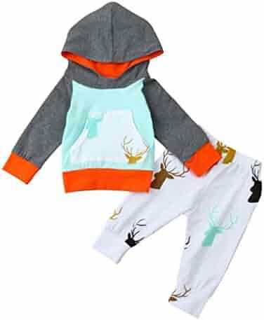 ee2fbefdf5d9 Fineser TM 2Pcs Newborn Infant Baby Boy Girl Deer Hoodie Cotton Warm Tops+Pants  Outfits