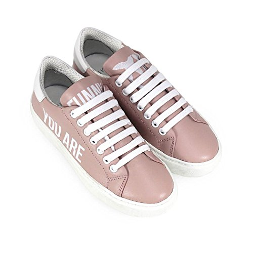 Donne Pinko 1p215vy4l5nz1 Bianco / Sneakers In Pelle Rosa