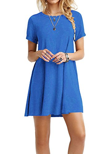 TINYHI Women's Swing Loose Short Sleeve Tshirt Fit Comfy Casual Flowy Tunic Dress Blue, X-Large