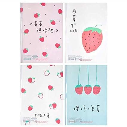 Whthteey 4 PCS A4 Cartoon Printed File Folder Expanding Document Letter Organizer 8.5 x 12.2 Folders Strawberry