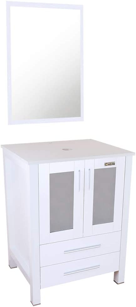eclife 24 White Bathroom Vanity Modern Pedestal Cabinet Set Pedestal Stand Wood with Bathroom Vanity Mirror Drawers Soft Closing Cabinet Doors Set B02W