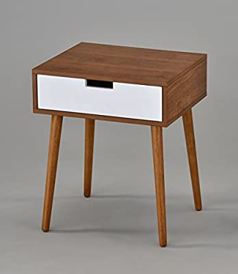 """Light Walnut/White Side End Table Nighstand with Drawer 22.5"""" H"""