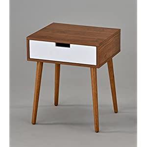 Light Walnut/White Side End Table Nighstand with Drawer 22.5″ H