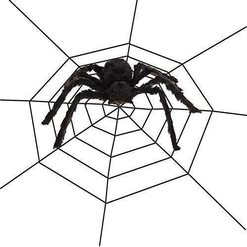 Outdoor Halloween Decoration Ideas 2019 (Flow.month Halloween Decorations 50'' Black Fake Spider 10FT Spider Web for Halloween Party, Indoor Outdoor Yard Spiderweb)