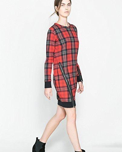 Zara Rojo diseño de Cuadros con Cremallera en los costados de tartán diseño de Vestido con