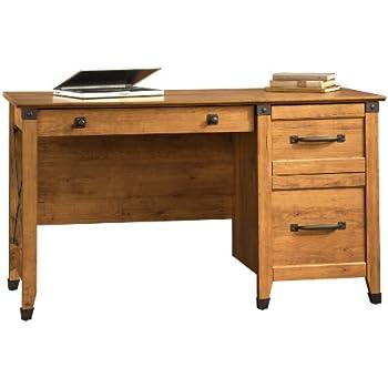 Amazon Com Sauder Registry Row Desk Amber Pine Kitchen