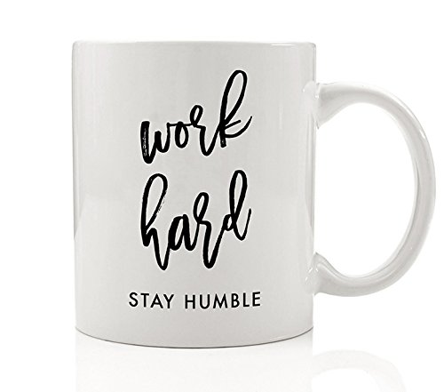 Work Hard Stay Humble Inspirational Coffee Mug Gift Idea for Coworker, Motivational Girlboss Birthday Christmas Office Present Promotion - 11oz Ceramic Tea Cup by Digibuddha - Humble Mall