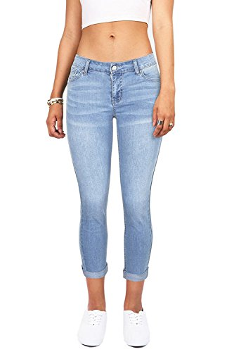 YouBens Womens Slim Fit Stretchy Skinny High Waisted Cropped Jeans with (Wash Hipster Jean)