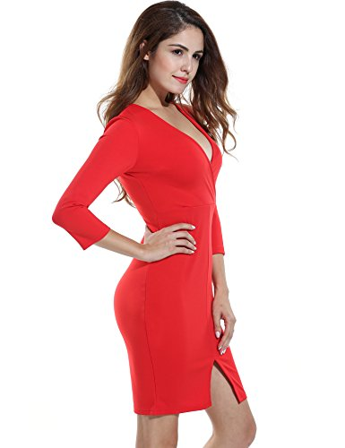 Sleeves Neck Red 4 Dress V Solid Women Slim Sexy Casual 3 Slit Polyester ANGVNS nUw06zqOYn