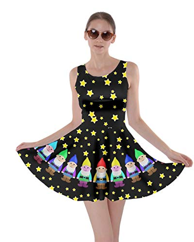 CowCow Womens Cute Stars Black Gnome Pattern Skater Dress - S ()
