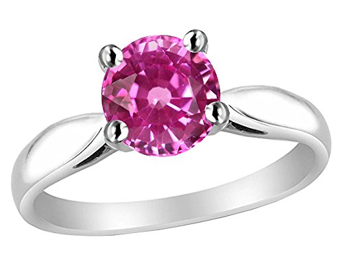 Star K 7mm Round Created Pink Sapphire Ring Sterling Silver Size 5 (Lab Created Pink Sapphire Ring Sterling Silver)
