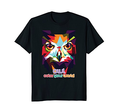 Owl-color-your-world-Colorful-Owl-T-Shirt-Tee-Shirt