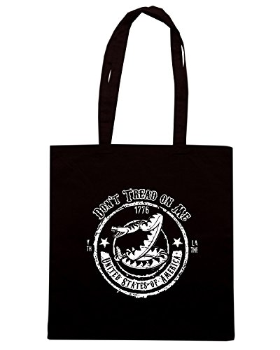 T-Shirtshock - Bolsa para la compra TM0609 dont tread on me rattlesnake Negro
