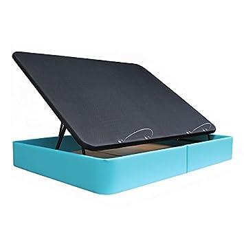Ventadecolchones - Canapé Apertura Lateral Gran Capacidad Modelo Serena tapizado en Polipiel Turquesa Medidas 135 x 190 cm: Amazon.es: Hogar