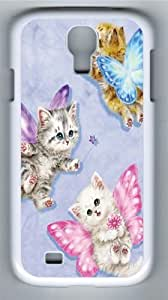 Butterfly Kitten Fairies Polycarbonate Hard Case Cover for Samsung Galaxy S4/Samsung Galaxy I9500 White