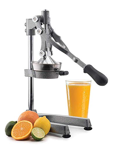 Manual Fruit Juicer - Commercial Grade Home Citrus Lever Squeezer for Oranges, Lemons, Limes, Grapefruits and More - Stainless Steel and Cast Iron - Non-skid Suction Cup Base - 18.5 Inch - by Vollum