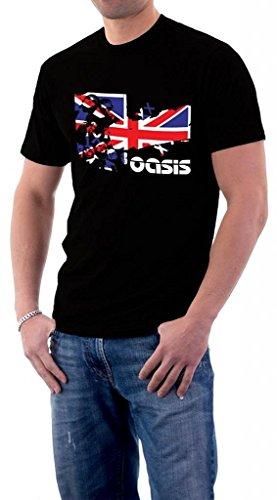 Liam Gallagher Oasis - Oasis Band Music Logo UK Flag Liam Gallagher Noel T-Shirt Large Black