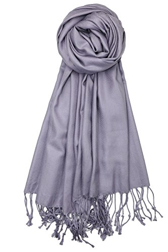 Achillea Soft Silky Solid Pashmina Shawl Wrap Scarf for Wedding Bridesmaid Evening Dress (Lavender Grey) ()