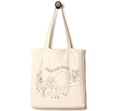 Andes Heavy Duty Gusseted Canvas Tote Bag, Handmade from 12-ounce 100% Natural Cotton, Perfect for Shopping, Laptop, School Books, Sloth Follow Your Dreams -