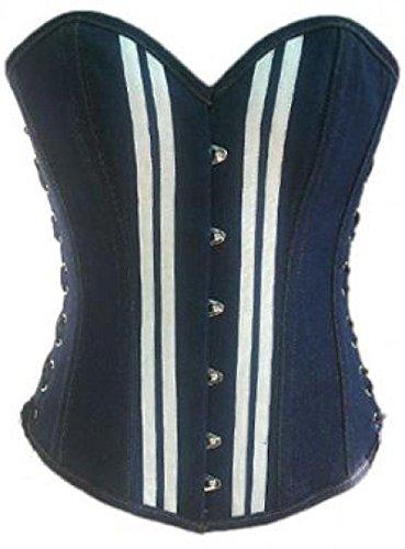 吸収剤精神医学上院議員Blue Denim White Strips Gothic Steampunk Bustier Waist Cincher Overbust Corset