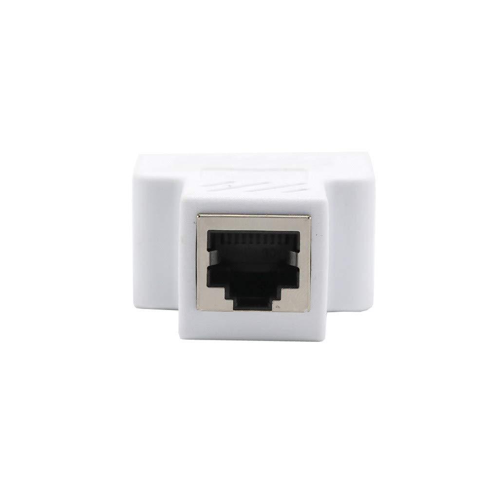 Cebbay Divisor de Red RJ45 Ethernet Conector Adaptador de expansi/ón Convierta f/ácilmente un Solo Conector RJ45 en Dos Conectores RJ45