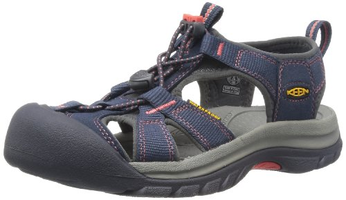 KEEN Women's Venice H2 Sandal,Midnight Navy/Hot Coral,8 M US
