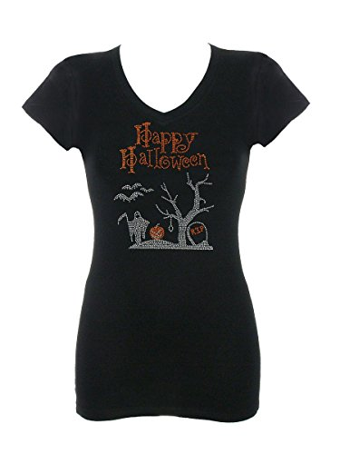 Women's Happy Halloween Rhinestone Bling V-Neck T-Shirt (Womens Halloween Bling Shirts)