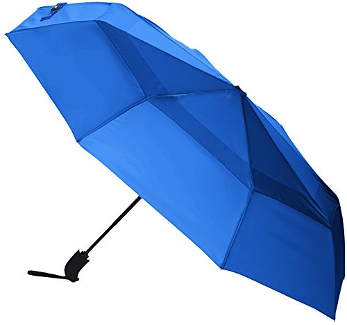 AmazonBasics Automatic Open Travel Umbrella with Wind Vent - Royal Blue (Wind For Best Umbrellas)
