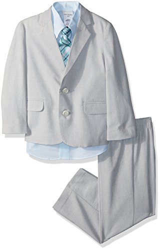 Van Heusen Boys' Toddler 4-Piece Formal Dresswear Suit Set, Silver Metal Linen, 2T (Linen Suit For Toddlers)