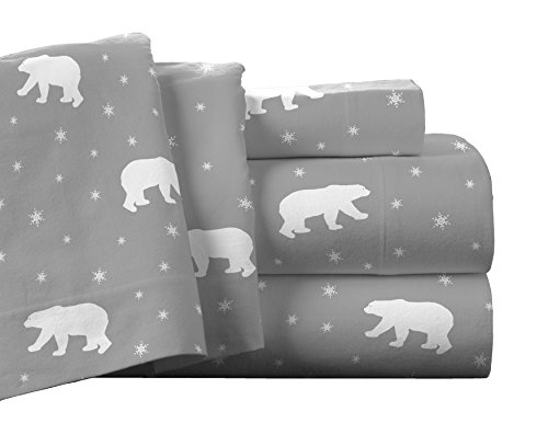 Pointehaven Flannel Deep Pocket Set with Oversized Flat Sheet, King, Polar Bear
