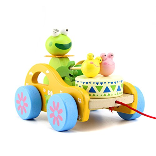 Hellofuture Kids Toys Wooden Pull Along Toy Frog Beat Drum Good Creative Educational Solid Wood Pull Toys for Toddlers & Baby Girls Boys with Long Sturdy String Attached to Cute Frog (Wooden Frog) by Hellofuture