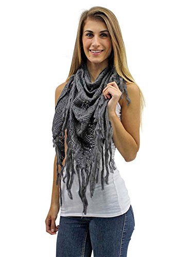 - Charcoal Gray Crochet Knit Shawl Wrap With Long Fringe