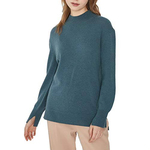 Women's Round Mock Neck Wool Pullover Sweater Long Sleeve Lovely Fit