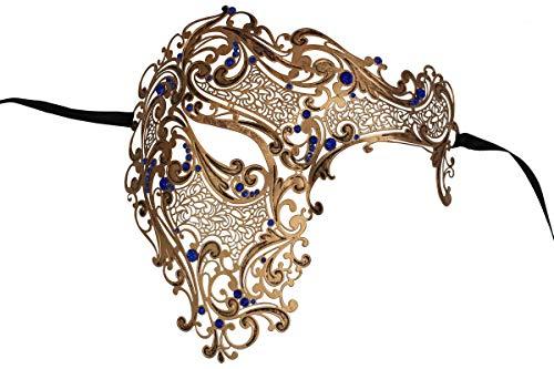 Luxury Mask Men's Signature Phantom of The Opera Half Face Mask Metal Vintage Blue