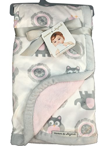 Blankets and Beyond Pink and Grey Owl and Elephant Baby - Bedding Beyond