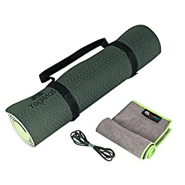YogiMall 3-in-1 Non Slip Yoga Mat with Carry Strap and Hand Towel Kit – Eco Friendly, Reversible, Thick 6mm, SGS…