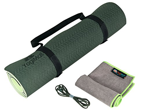 YogiMall 4-in-1 Non Slip Yoga Mat with Two Carry Straps and Hand Towel Kit – Eco Friendly, Reversible, Thick 6mm, SGS Certified High Density TPE Exercise Mat Set for Yoga, Pilates & Fitness Exercise