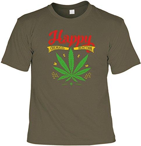 T-Shirt Funshirt - Happy Chemical Reaction - witziges Spruchshirt als Geschenk für den Menschen mit Humor Marijuana