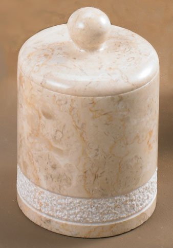Creative Home Champagne Marble Stone Cotton Ball Holder-Hand Carved Collection