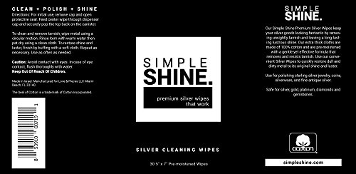 Silver Cleaning Wipes, 100% Cotton Wet Polishing | Best for Sterling Jewelry, Silverware | Large 30 Count by Simple Shine (Image #5)