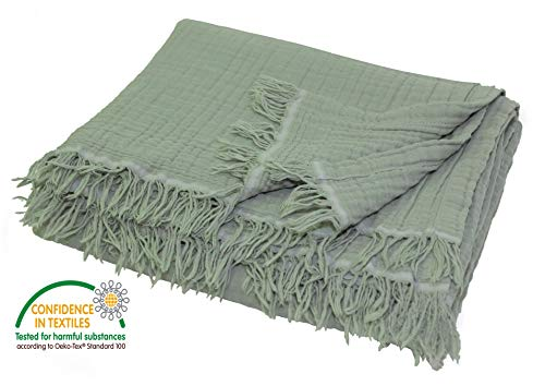 Pre-Washed Muslin Throw Blanket for Couch, Adults and Kids, Plant Dyed Yarn, Breathable Super Soft 100% Cotton, Cozy, Warm, Lightweight Blanket, All Season, Oeko-Tex Certified (50