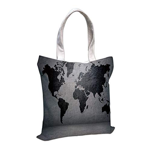 iPrint Cotton Linen Tote Bag, Dark Grey,Black Colored World Map on Concrete Wall Image Urban Structure Grungy Rough Look,Grey Black,for Shopping Camping School Casual Pocket
