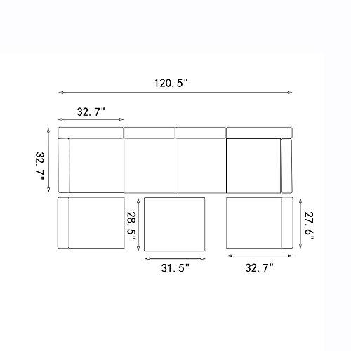 Do4U 3-12 Pieces PE Rattan Wicker Sofa Sectional Sofa Set Outdoor Patio Furniture Set