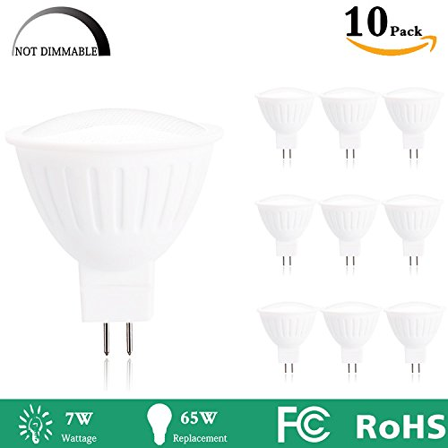 MR16 led Light bulbs With GU5.3 base, 65W Halogen Bulbs Equivalent, 2700k Warm White 7W 700LM, 120 Beam Angle,Non-Dimmable Spotlight For Living room, Restaurant, Hotel, Office, Meeting room,-10 Packs by Mi.light