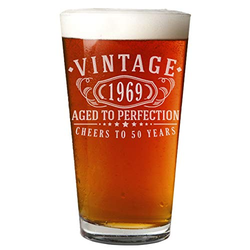 Small Vintage Beer - 50th Birthday Etched 16oz Pint Beer Soda Glass - Vintage 1969 Aged to Perfection - 50 years old gifts