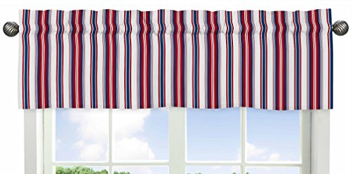 Sweet Jojo Designs Red, White and Blue Stripe Window Valance for Nautical Nights Collection