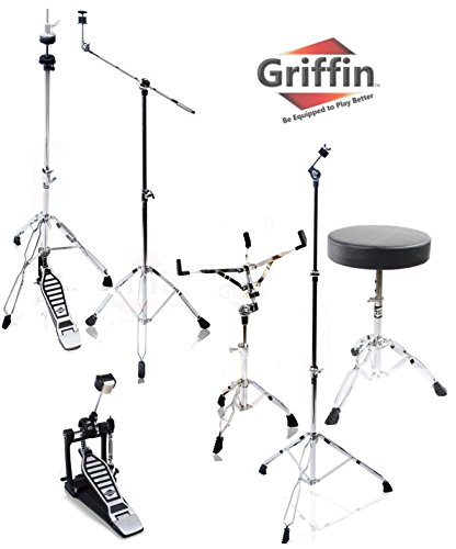 (Complete Drum Hardware Pack 6 Piece Set by Griffin | Full Size Percussion Stand Kit with Snare, Hi-Hat, Cymbal Boom, Throne Stool and Single Kick Drum Pedal | Lightweight and Portable|Perfect for Gigs)