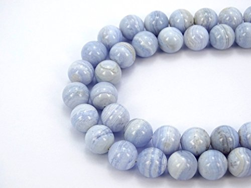 - jennysun2010 Natural Blue Lace Agate Gemstone 8mm Smooth Round Loose 50pcs Beads 1 Strand for Bracelet Necklace Earrings Jewelry Making Crafts Design Healing